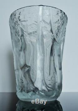Art Déco Grand Vase Pte De Verre Moule Satine Arbre Par Invald Bohème