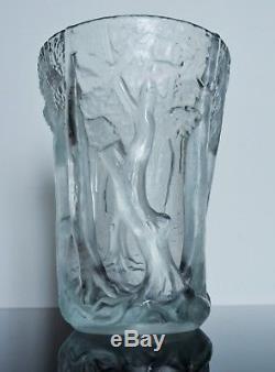 Art Déco Grand Vase Pte De Verre Moule Satine Arbre Par Invald Pour Boheme