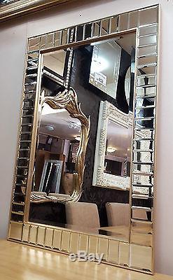 Art Déco Rectangulaire Tout Mur De Verre Miroir Bord Biseauté Champagne Cadre