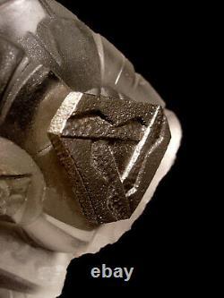Aubin Ollier Applique Art Déco En Verre Moulé Pressé Et Bronze Nickelé 1930