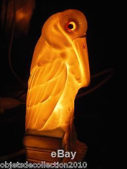BELLE LAMPE VEILLEUSE en PORCELAINE ART DECO OISEAU HERON YEUX VERRE collection