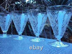 Baccarat lot de 10 verres à vin blanc Porto cristal gravé Art Déco début 20 ème