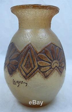 Beau et rare vase Legras, Art Déco, verre dégagé à l'acide, signé