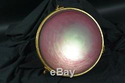 Beau lustre suspension vasque ART Deco Plafonnier Verre Bronze Rose Cranberry