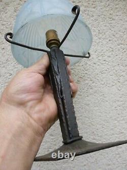 Belle Lampe Art Deco Fer Forge Obu Verre Depoli Vers 1930 Muller Noverdy Degue