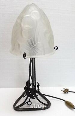 Belle grande LAMPE CHAMPIGNON fer forgé pâte de verre ART DECO 1930