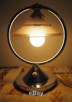 Belle lampe Art déco (1930) Design Chrome et verre Orientable
