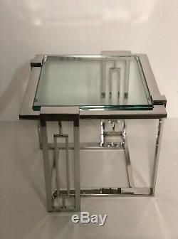 Bout de canapé / table d'appoint New York style art déco en alu chromé