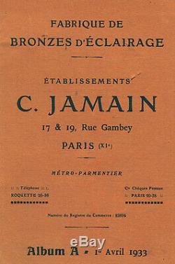 C. Jamain Applique Art Déco En Bronze Nickelé Et Tulipe En Verre Pressé 1930