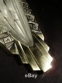C. Schneider Paire Dappliques Art Déco Aux Libellules En Bronze Et Verre Pressé