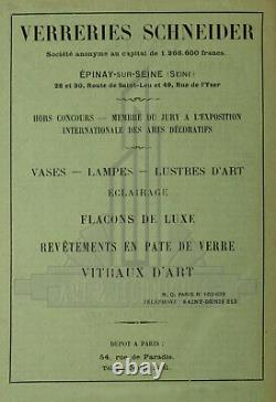 C. Schneider Plafonnier Art Déco En Fer Forgé Et Tulipes En Verre Pressé 1930