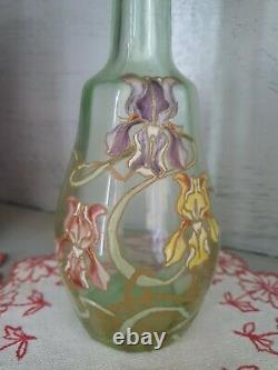 Carafe verre émaillé Legras décor d'iris art nouveau art déco avec son bouchon
