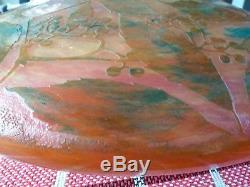 Chandelier DAUM NANCY lustre art deco pate de verre decor baies Gallé Muller