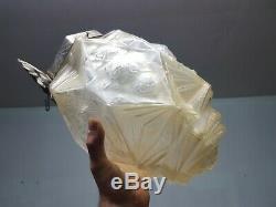 Chandelier lanterne lustre art deco verre moulé et bronze des hanots j. Robert