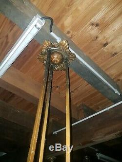Chandelier lustre art deco pate de verre bronze des hanots j. Robert degue muller