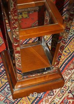 Colonne / sellette haute de style Art déco en inox, bois et verre piédestal