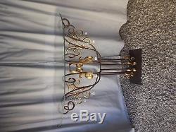 Console Néoclassique demi-lune de style Maison Jansen en fer forgé et verre