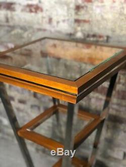 Console haute Building en métal chromé, bois et verre