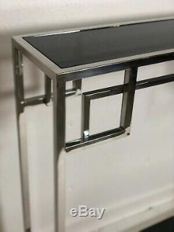 Console style Art Déco en métal chromé à dessus de verre fumé