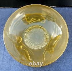 Coupe En Verre Opalescent Jaune Ondines/sirenes Art Deco 1930 Era Lalique Verlys