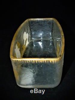 Coupe ou Ravier en verre émaillé à décor de pensées dégagé à l'acide montjoie