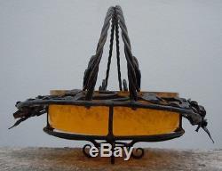 Coupe pâte de verre fer forgé corbeille centre de table d'époque Art Déco 1930
