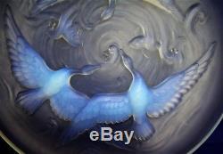 Coupe verre pressé moulé opalescent Verlys Art-déco oiseaux poissons Réf/A24/8