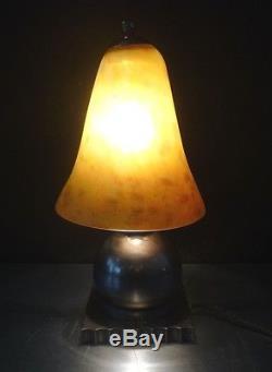 DAUM BRANDT lampe art deco bronze nikelé pate de verre gallé, lalique