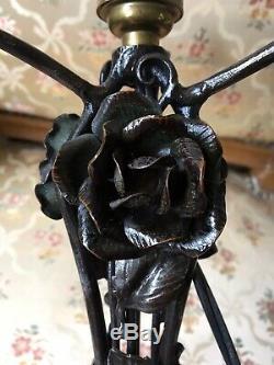 DAUM NANCY Lampe art déco Signée Fer forgé (Edgar Brandt) et pâte de verre