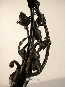 DAUM NANCY Lampe art déco en fer forgé et tulipe marbrée 1920/1925
