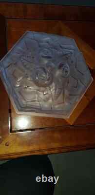 DEGUE 1930 Art déco Suspension Vasque en pate de verre Ancien Lustre