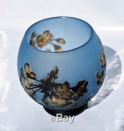 DEGUÉ (David Guéron) Rare VASE Décor Orchidée Pâte de Verre Gravé ART DECO gallé