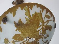 DEGUE, ancienne vasque d'éclairage en pâte de verre décor oiseau