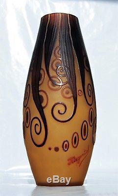 D'ARGENTAL Paul Nicolas Grand Rare Vase Pâte de Verre Gravé Art Déco gallé 25cm