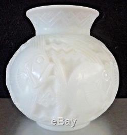 D'AVESN Pierre, Gros vase poissons, verre moulé opalescent, lalique, daum, schneider