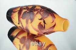 D'Argental Paul Nicolas Vase Orchidée Tigre Pâte Verre Gravé ART DÉCO Gallé