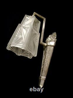Dameron & Jokisch Ejg Applique Art Déco Bronze Nickelé & Tulipe Verre Pressé