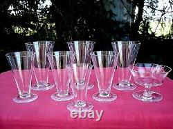 Daum Nancy Berny Set Glasses Service Verre A Eau Vin Cristal Uni Gravé Art Deco