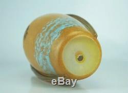 Daum Nancy Rare Vase Marmoréen Avec Applications à Chaud Pâte de Verre Art Déco