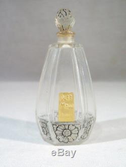 Dear Mado Lydes Paris Rare Flacon Parfum En Verre Taille Decor Fleurs Art Deco