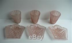 Degué Art Déco lustre suspension verre géométrique moderniste tulipes & plaques