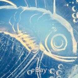 Dessous de Plat VERLYS FRANCE Verre Opalescent Poisson, Art Déco 1930/sabino