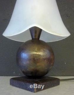 EDGAR BRANDT Lampe art deco fer forgé et pate de verre signée-kiss-subes