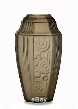 ETALEUNE Vase Paris en Verre Fumée Epoque Art Déco 1930