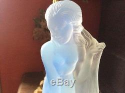 ETLING Rare Femme Art Deco Verre Opalescent Bleu Signée 1932 Etat Sup Haut 22 cm