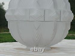 Enorme & rare Globe en verre, pressé, moulé époque Art déco H 30 cm