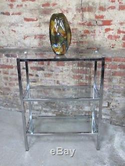 Etagère / console en métal chromé 1970's avec tablettes en verre