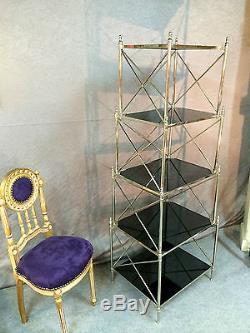 Etagère en inox et verre noir des années 1970 (Vintage) Hauteur 160 cm