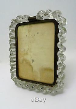 GIO PONTI (att) Venini Cadre porte photo verre & bronze Art déco frame of Murano