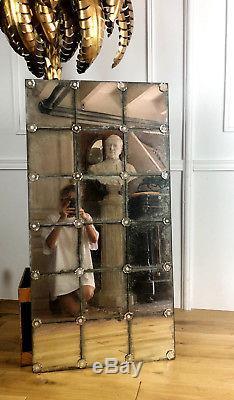 Glace / Miroir Mural Ancien Des Années 70 En Verre Églomisé De Style Art Déco